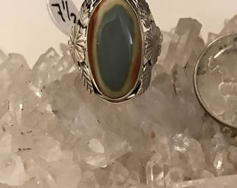 Abstract Imperial Jasper Ring, Size 7 1/2