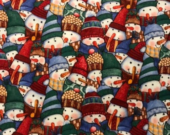 Colorful Snowmen Flannel by Tricia Santry for Blank Quilting, 100% Cotton