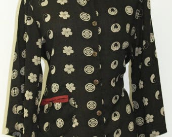 Black Asian Inspired Print Button-Down Rayon Top - FA16-5823-B