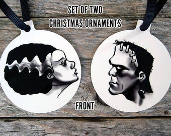 Frankenstein and Bride of Frankenstein Horror Christmas Ornaments | Horror Tree Decorations Universal Monsters Christmas Decorations