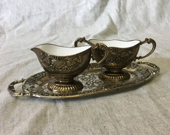 Vintage Silver Plated Grapevine Sugar Bowl and Creamer with Enamel Interior and Matching Tray