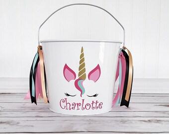 Unicorn Halloween bucket - Unicorn bucket - Unicorn Halloween - Personalized bucket - Halloween pail - Halloween - Unicorn - Unicorn decor