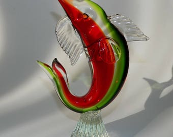 "Vintage Murano Art Glass Fish 9"" inches"