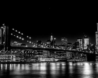 New York Wall Decor,instant download photography,Brooklyn Bridge photo,bnw nyc picture,bw home decor,night lights image,black and white art