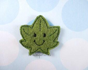 RTS Green Fall Leaf Felties (Set of 4 UNCUT) FELT Felties, Hair Bow Centers, Felt embellishments, Felt Appliques, Ready to Ship