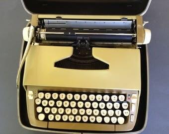 Smith Corona Sterling Manual Typewriter, Vintage Typewriter, Yellow Typewriter Ready to Type