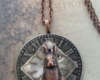 Rustic Alice in Wonderland Steampunk Necklace, Vintage Watch Face Necklace, Rabbit Necklace, Through The Looking Glass Jewelry Easter Rabbit