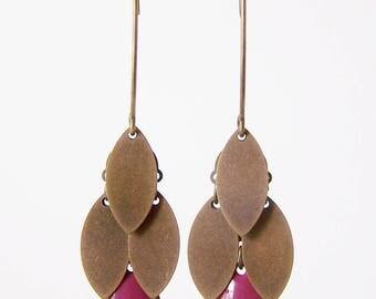 Purple and bronze navette cluster earrings