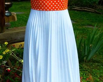 1970's Vintage maxi-dress with orange polka dot bodice