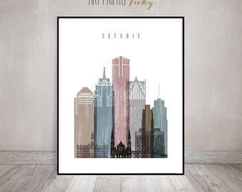 Detroit skyline art poster, Detroit art print, Travel decor, Wall art, house warming gift,  distressed art, wall decor, ArtPrintsVicky.