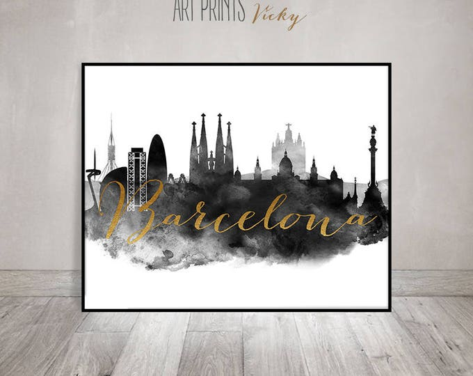 Wall art Barcelona Print, Poster, Barcelona Skyline, black and white, Travel decor, housewarming gift, Home Decor, faux gold, ArtPrintsVicky