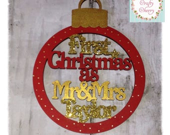 Mr & Mrs first Christmas Tree Baubles
