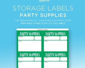 Storage Labels - Party Supplies, Decorations & More Organizing Labels - PRINTABLE Labels