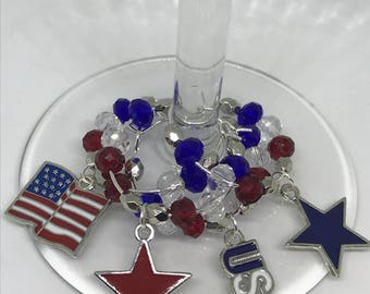 Set of 4 Patriotic USA 4th of July themed wine glass  charms