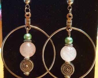 Rose Quartz Circle Hoop Earrings