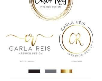 Gold Logo, Logo, Logo Design, Branding kit, Calligraphy Logo, Photography Logo, Watermark, Stamp logo, Business Logo