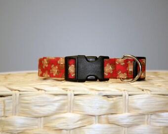 Christmas Dog Collar – Gingerbread Man Dog Collar –  Gingerbread Dog Collar – Christmas Collar - Handmade Fabric Dog Collar