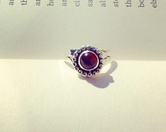 Desert Sun Ring - Garnet Split Band Sterling Silver