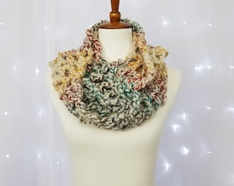 Chunky Colorful Crochet Infinity Scarf Ready to Ship