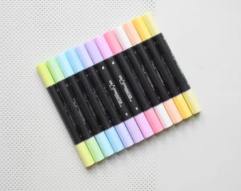 12 Pastel markers, pastel highlighters, pastel highlighting pens, colored pens,