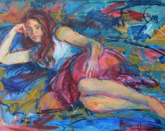 Figurative Painting, Reclining Female, Large Figure Art