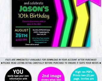Neon, Glow Party, Neon Invitation, Glow in the dark, Neon Party, Glow, Printable, Glow Birthday Party, Neon Glow Party, Neon Birthday Party