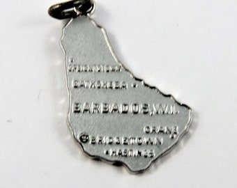 Map Outline of the Island of Barbados Sterling Silver Charm of Pendant.