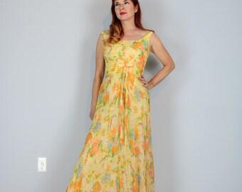 "1950s Dress - Yellow Floral Evening Maxi Dress - 26"" Waist - Silk Chiffon - Prom - Summer Wedding - Elegant Classic Timeless - Mad Men"