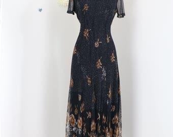 1980s Dress - Black Floral Maxi Midi Dress - Mesh - Short Mesh Sleeves - Back Tie - Summer Spring Fall Dress - Size Small/Medium