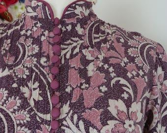 1960s Dress - Chinese Asian Floral Cheongsam - Midi Long Sleeve - Mauve Metallic Silver Pink - Shift Dress - Winter Fall - Size Medium