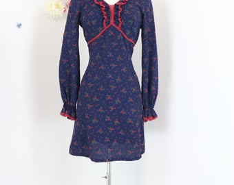 1960s Dress - Blue Red Floral Mini Dress - Ruffle - Baby Doll - Long Sleeve - Crochet Trim - Size XS/Small