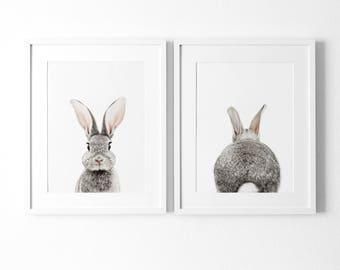 Set of 2 Bunny Prints,  Nursery Decor, Animal Prints for nursery, Printable Nursery Bunny, Instant Download, Rabbit Print, Rabbit Butt Tail