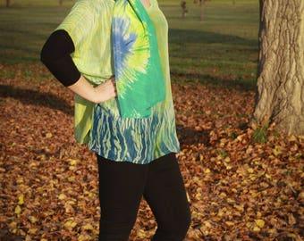 """""""Cascades"""" hand dyed silk oversize boho tunic"""
