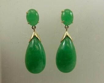 Green Jade Dangle Earring 14k Yellow Gold