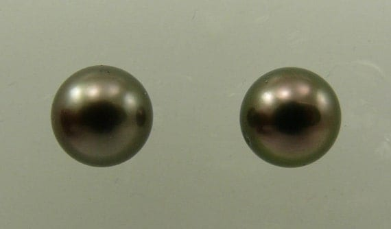 Tahitian Black 9.2 mm Pearl Earrings 14k White Gold