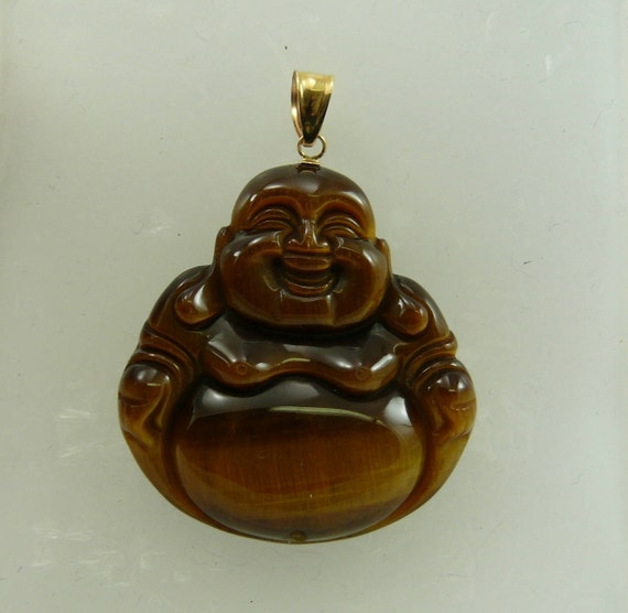 Tiger Eye Buddha Pendant 14k Yellow Gold