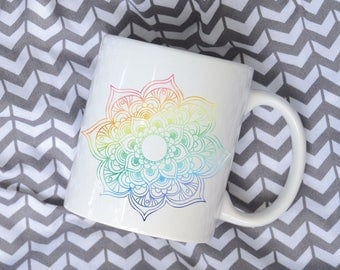 Mandala Watercolor Coffee Mug, Sublimation Mug, 2 Sided, Rainbow Watercolor, Rainbow Mandala
