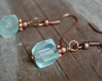 Antiqued Copper Faceted Seafoam Green Fluorite Gemstone Minimalist Dangle Earrings