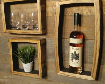 """SET OF 3 - Bourbon Barrel Shadow Boxes - 17""""x9"""", 12""""x9"""", and 10""""x10"""""""