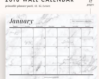 12 Month Calendar, Marble Wall calendar, Wall Calendar 2018, 2018 desk calendar, desktop calendar, 2018 calendar, printable calendar