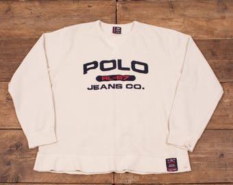 """Mens Vintage Polo Jeans Ralph Lauren Cream Cotton Sweatshirt Large 46"""" R5664"""