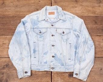 """Mens Vintage Levis Red Tab Acid Wash Blue Denim Trucker Jacket Large 44"""" R5714"""
