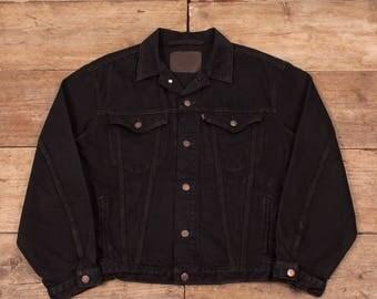 "Mens Vintage Levis Red Tab 75525 Black Denim Trucker Jacket Large 44"" R6212"