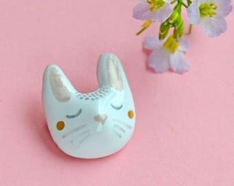 Ceramic Bunny Brooch, Rabbit Jewelry, Miniature Ceramic Animal, Cute Animal Bunny, Rabbit Pin, Tiny Ceramic Animal, Tiny Art, Cute Rabbit
