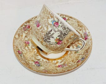 Colclough Gold Chintz with Pink Rosebuds  Vintage Teacup and Saucer,  English  Tea Cup and Saucer Signed - 1887