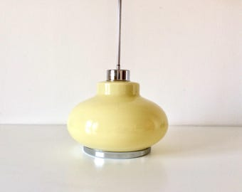 Atomic Ceiling Light, Opaline Yellow Glass Light, Space Age Ceiling Lamp, Pendant Lamp, Retro Home Decor.
