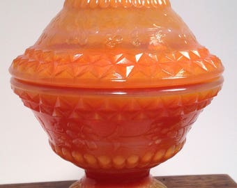 Fenton Coral Colored Pedestal Covered Dish with Embellishments