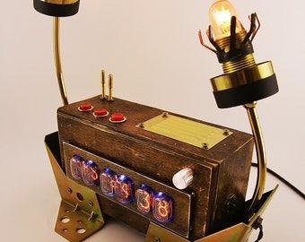 steampunk lighting. perfect lighting nixie tube clock nixie steampunk lamp lighting  gears on steampunk lighting