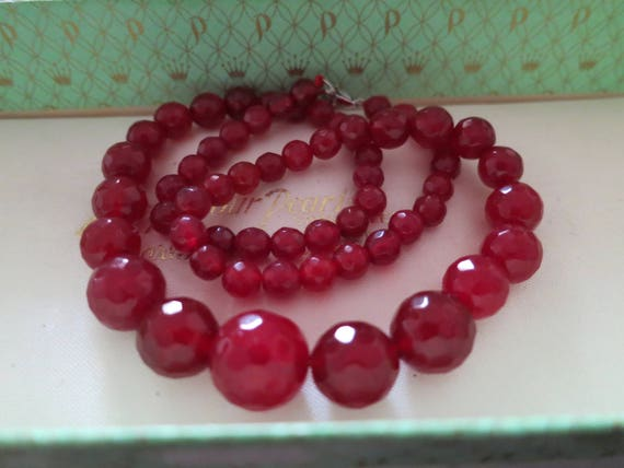 Lovely faceted graduated natural raw ruby necklace