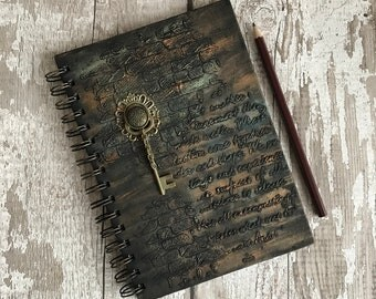 A5 notebook, A5 journal, Steampunk notebook, Steampunk journal, Alternative notebook, Alternative journal, Mixed media notebook, Mixed media